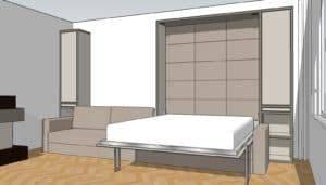 projekt łóżka w szafie
